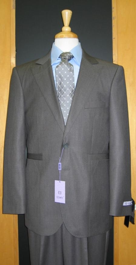 SKU#KZ600 2 Button Grey Silk Blend Custom Flat Front Center Vented Suit