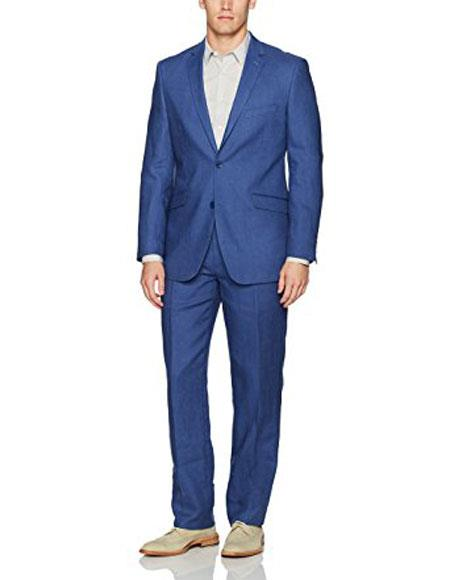 Mens Two Buttons Single Breasted 100% Linen Indigo ~ Bright Blue ~ Cobalt Blue Modern Fit Suit Flat Front Pant