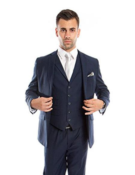 Men's Slim Vested Suits Ink Blue ~ Midnight ~ 1 Shade Lighter Dark Navy Blue Suit For Men Groomsmen Suits
