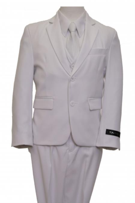 2 Button Kids Sizes Front Closure Boys Suit Perfect For boys wedding outfits OffWhite