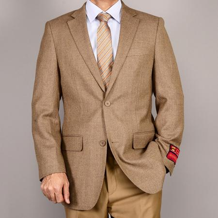 SKU#NNA32 Mantoni Mens Camel ~ Khaki 2-Button Wool Sport Coat
