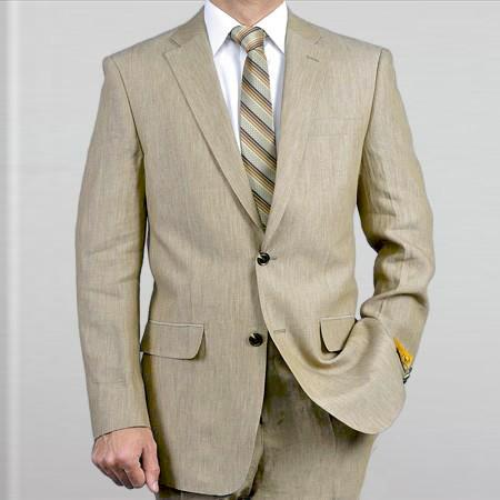 Men's Linen Suit Perfect for Prom attire outfits Spring Khaki