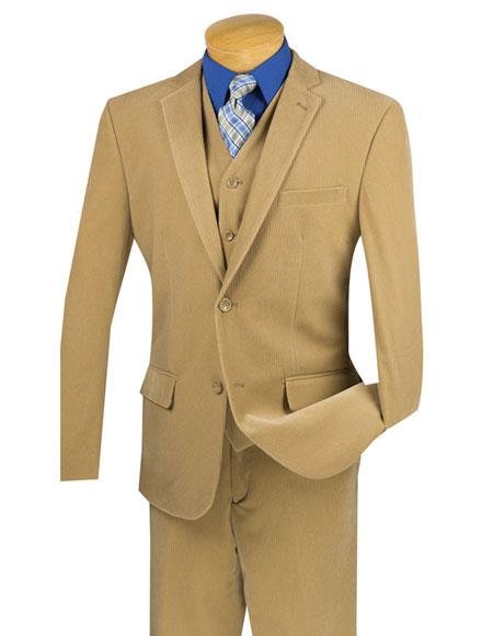 Mens Two Buttons Pinstripe ~ Stripe Khaki corduroy 3 piece vested suits Flat Front Pants - Three Piece Suit