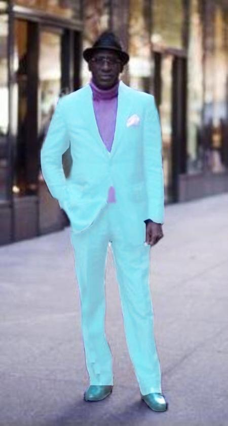 SKU#SKB924 Classic Ultra Smooth 2 Button Suit Light Blue ~ Sky Blue