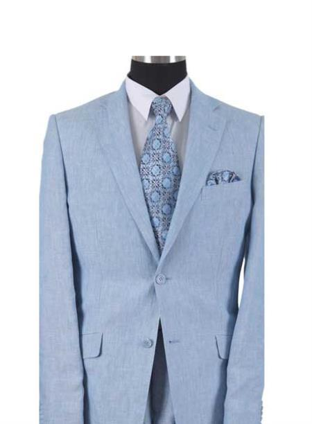 SKU#AA558 Two Button With Elbow Patch sleeve Light Blue Mens Linen Summer Suit or Blazer or Sportcoat