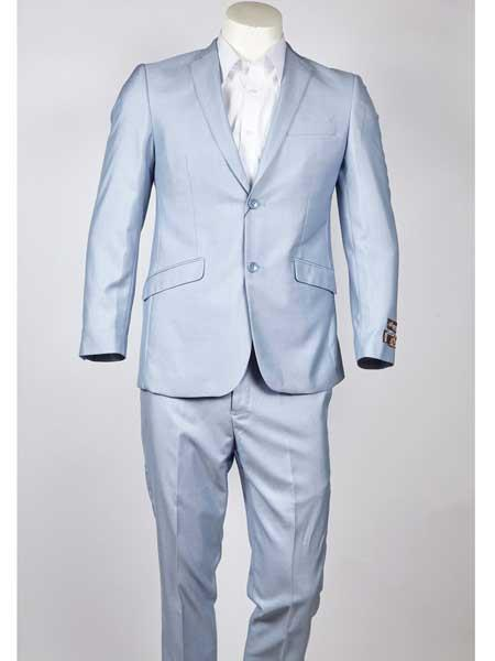 Mens Slim Fit 2 Button Notch Lapel Light Blue Single Breasted Suit