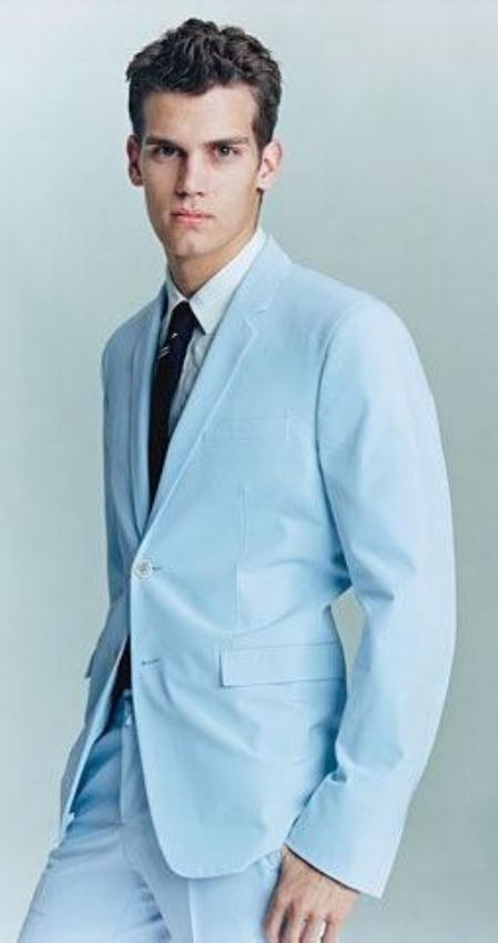 SKU#AS523 2 Button Light Blue ~ Sky Baby Blue (Powder blue) Business ~ Wedding 2 piece Side Vented Suit