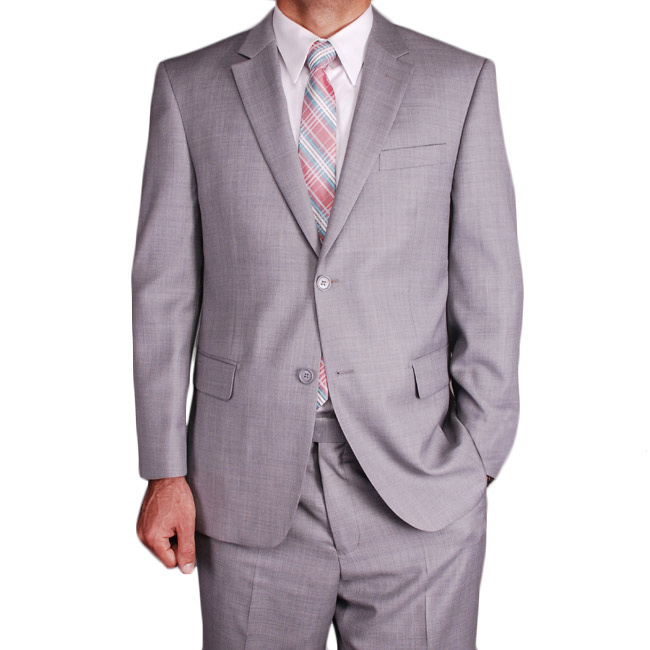 Men's Authentic Mantoni Brand 2 Button Wool Suit Light Gray
