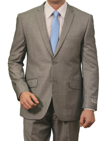 SKU#M130S000 Mens 2 Button Front Closure Slim Fit Suit Light Grey