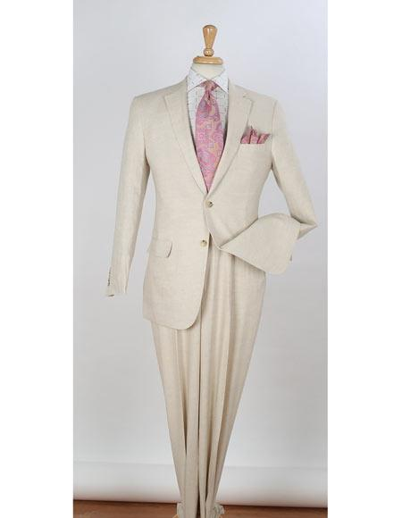 Mens Natural 2 Piece Single Breasted Notch Lapel Side Vents Two Buttons Regular Fit Linen Suit