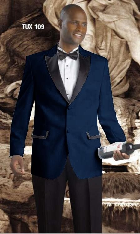 High Quality 2 Button Tuxedos Peak Lapel with Black Satin Collar Dark Navy ~ Midnight blue