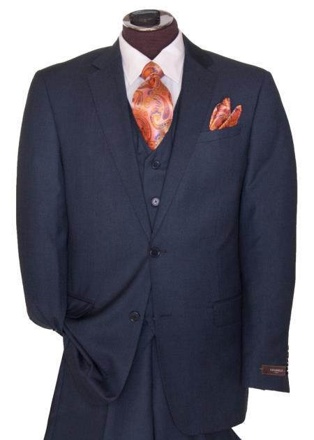 Men's 2 Button Dark Navy Blue Suit For Men Regular Basic Cut Flat Front Pants Three Piece Suit (Wholesale price $95 (12pc&UPMinimum))