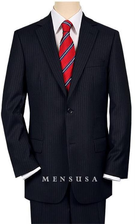 High-quality Construction 2 Button Dark Navy Blue Suit For Men MiniStripe Ultimate Tayloring&Wool