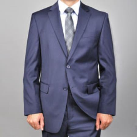 Mens Authentic Mantoni Brand 2 Button Wool Suit Solid Navy Blue