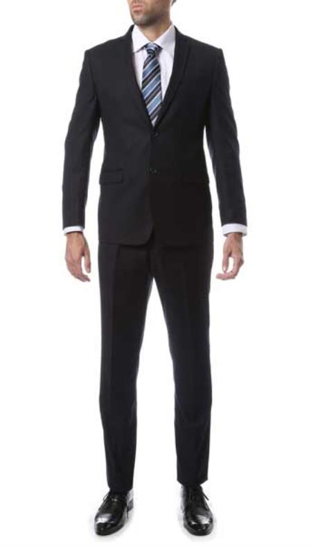 Mens 2 Button Dark Navy Blue Single Breasted Slim Fit Zonettie Suit
