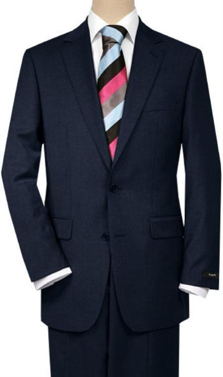 Mix and Match Suits Men's Solid Dark Navy Blue 2 Buttons Portly Suits Executive Fit Suit - Mens Portly Suit
