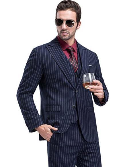 1920 Fashion For Men Dark Navy Blue Suit For Men Chalk White Pinstripe Stripe 2 Buttons Vested Suit