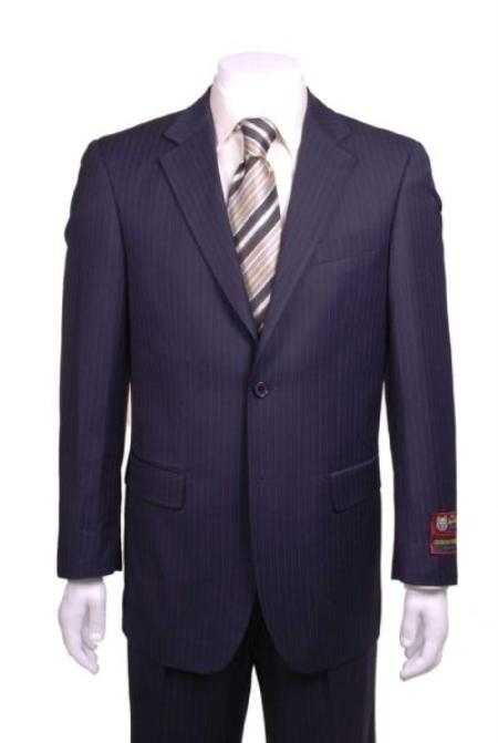 Stripe ~ Pinstripe Modern Fit 2 Button Vented without pleat flat front Pants Dark Navy Blue  Suit For Men