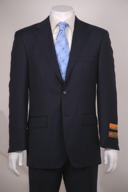 SKU#SD324 Navy Blue Stripe ~ Pinstripe 2 Button Vented without pleat flat front cheap discounted Pants Wool Feel Poly~Rayon Cheap Suits For Men