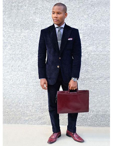 Men's 2 Buttons  Thick Corduroy Dark Navy Blue Suit For Men Cuffed Pants
