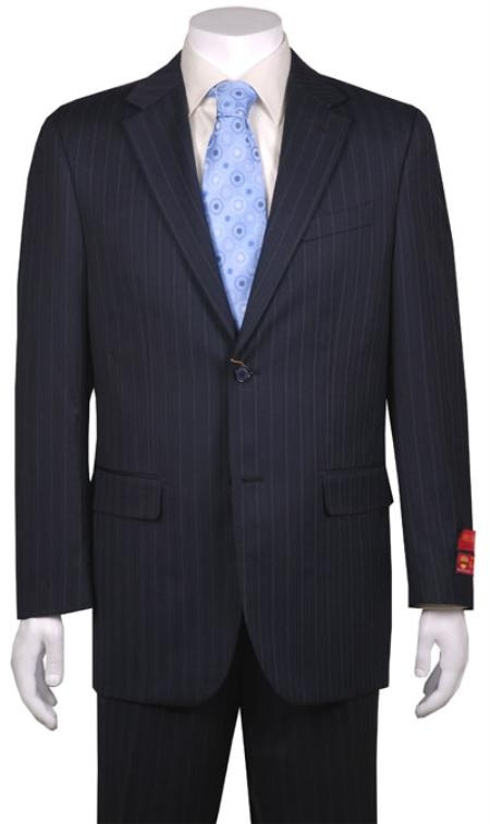 Mens Suit Dark Navy Blue Suit For Men Stripe ~ Pinstripe 2 Button Vented without pleat flat front Pants Wool