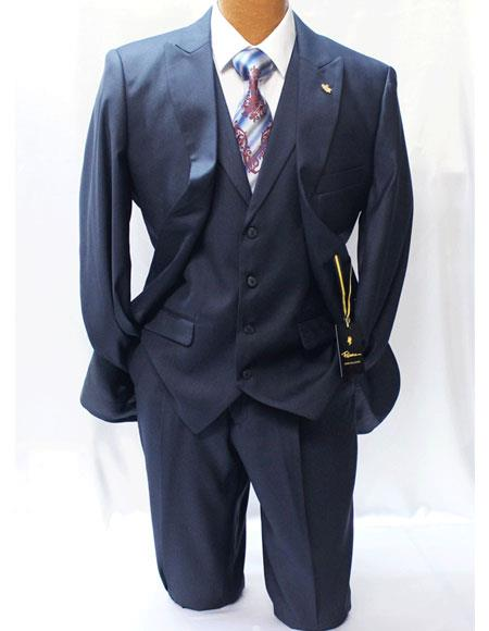 Falcone Mens Dark Navy Blue Suit For Men Two Buttons Style Classic Fit Vested Suits with Pleated Pants
