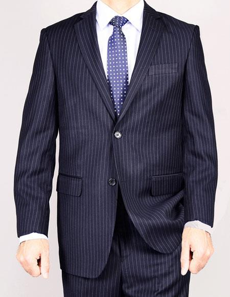 Mens Classic Two Buttons pinstripe Authentic Giorgio Fiorelli Brand suits Flat Front Pant