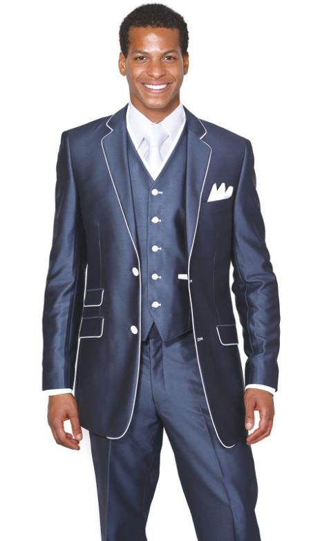 Mens White Trim Lapel Slim Fitted Ticket Pocket Suit 2 Button 3 Piece Single Breasted Church Suit Dark Navy