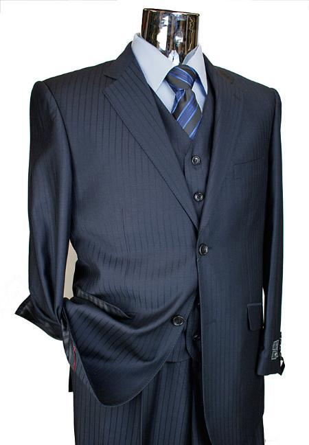 SKU#KA6520 Men's Navy Tone on Tone 3pc 2 Button single pleated pantsr three piece suit