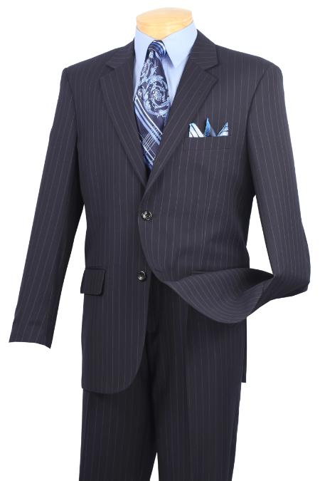 Notch Collar Pleated Pants Executive Classic Stripe ~ Pinstripe Dark Navy Blue Suit 2RS-16