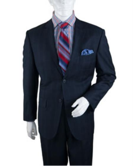 Mens Two Buttons Plaid ~ Window Pane Cheap Priced Business Suits Clearance Sale Pleated Pants Regular Cut Dark Navy