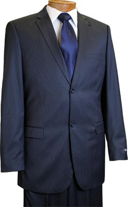 Men's 2 Button Slim Cut Dark Navy Pinstripe Conservative Pattern Suit Navy Mini Stripe Tapered Cut