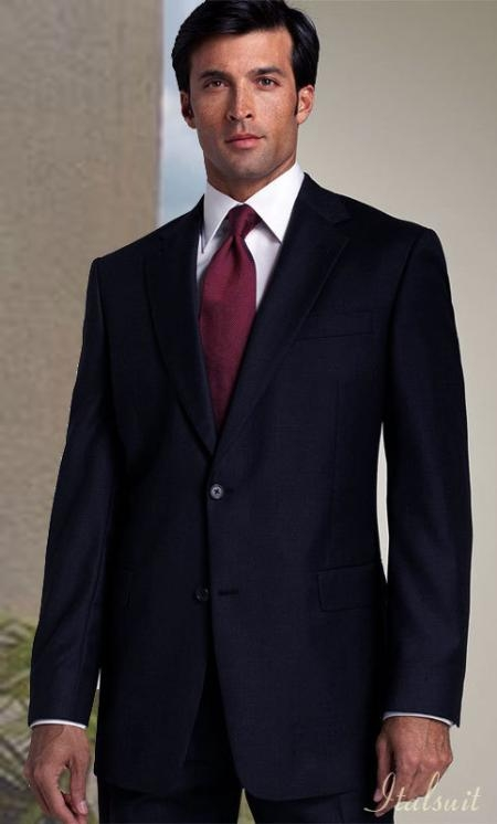 Classic 2PC 2 Button Solid Color Dark Navy Shark Skin Mens Suit