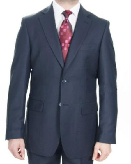 Mens 2 Button Dark Navy patterned Suit