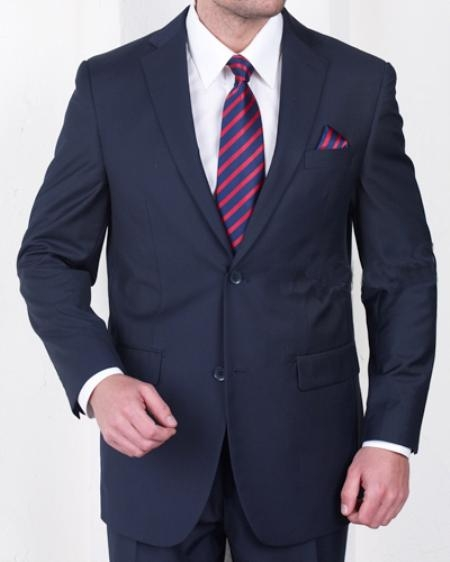 Mens 2 Button Super 150s Poly Rayon Blend Fabric Dark Blue Suit