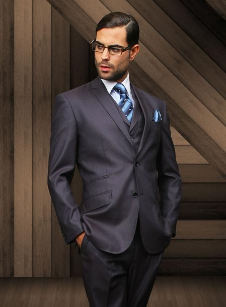 Mens Slim 2 Button Dark Navy Vested Suit Comes With Free Shirt & Tie