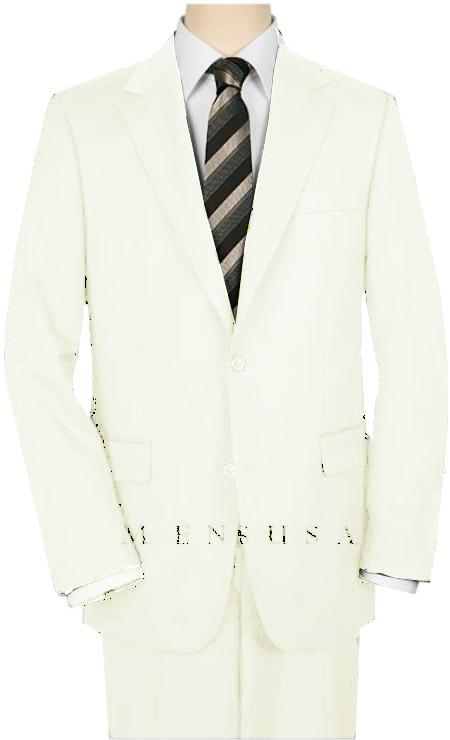 High-Quality 2 Button OFF White Suit Wide Leg 22 Inch Pleated Pants Side Vented Jacket