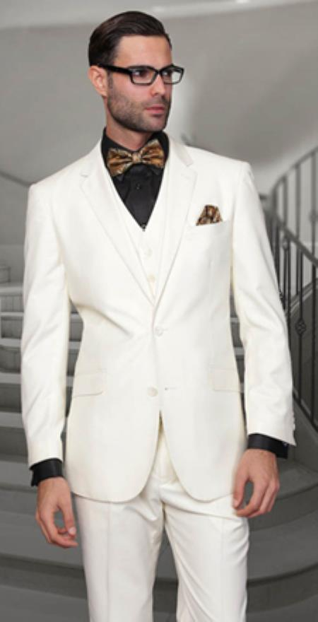 Notch Lapel Two Buttons Side Vented Vested No Pleated Pants 100% Wool Discounted Sale Fit 3 Piece Suit Off White