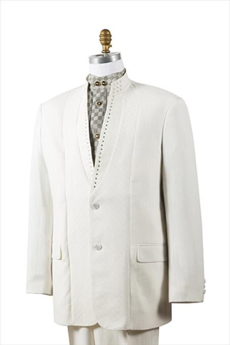Unique 2 Button Tuxedo Trimmed Pleated Pants Mandarin Banded Collar Mens Suits Off-White ~ Ivory ~ Cream