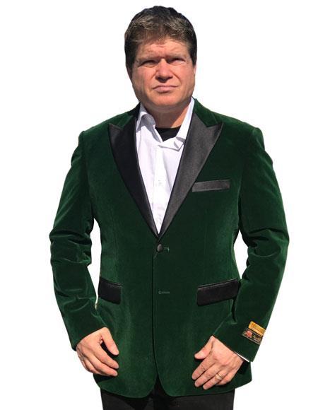 Alberto Nardoni Brand Olive Green Velvet Tuxedo Jacket Sport Coat Jacket Available Big Sizes