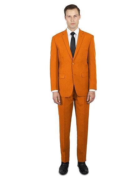 Festive Colorful 2020 New Formal Style Orange 2 button Suit Flat Front Pants