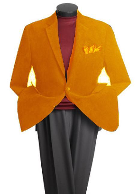 SKU#HQ3197 Mens 2 Button Classic Cotton/Rayon Blazer Orange