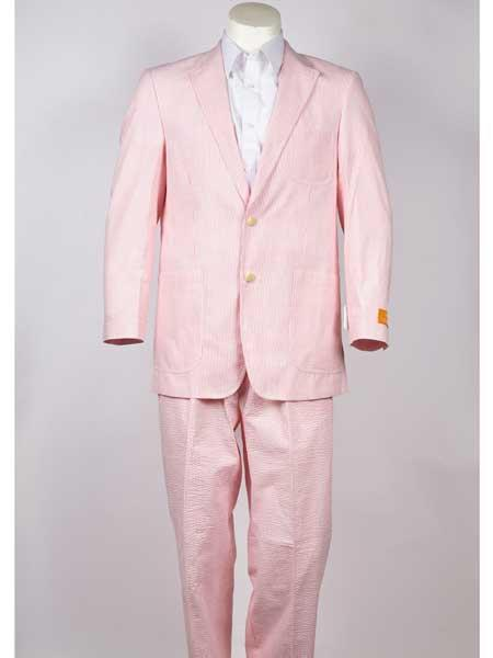 Mens Notch Lapel 2 Button Pinstripe Pink Single Breasted Blazer