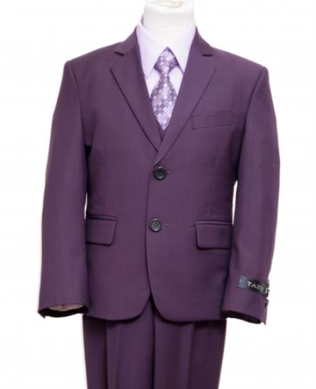 2 Button Front Closure Boys Kids Sizes Suit Perfect for toddler wedding  attire outfits Very Dark Purple