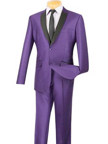 Mens Slim Fit 2 Button Purple Sharkskin Single Breasted Tuxedo Style Suit
