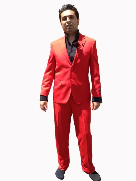 Mens 2 Button Modern Cut Suit - Hot Bright Red Cheap Suits For Men