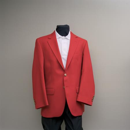 SKU#RRF1 Mens 2 Button Blazer Red with brass buttons sportcoat