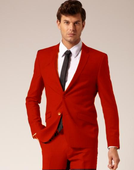 Mens 2 Button Style Suit Pants Red ( Regular Cut or Slim Cut)