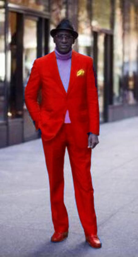 SKU#RED721 Discounted Jacket and Pleated Pants 2 Button Suit Hot Red