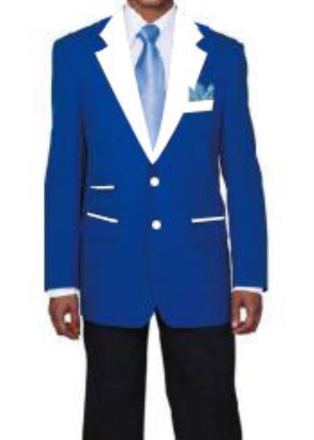 Men's 2 Buttons Royal Blue and White Lapel Tuxedo Dress Suits for Men Cheap Priced Designer Fashion Dress Casual Blazer For Men On Sale Blazer